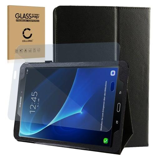 Smart Case + Panzerglas für Samsung Galaxy Tab A 10.1 (SM-T580 / SM-T585) - Kunstleder, schwarz Tasche Case Schutzhülle