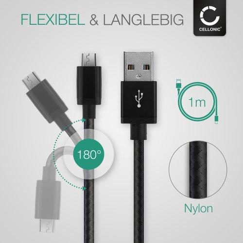 Datenkabel schwarz USB Kabel Sony Cyber-shot DSC-QX10 ILCE-6500 α6500