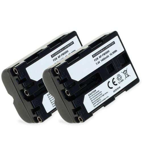 2x Akku für Sony SLT-A58 SLT-A77 SLT-A65 SLT-A57 ILCA-77M2 SLT-A99 DSLR-A200 - NP-FM500H (1400mAh) Ersatzakku