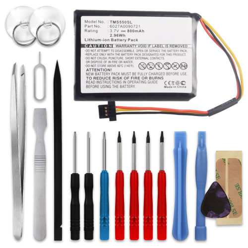Battery for TomTom Start 55 / 52 / 45 / 1EF0.017.03 / 1ET0.052.09 / 4EF00 / 4EF0.017.00 - 6027A0090721 (800mAh) + Tool-kit Spare Battery Replacement