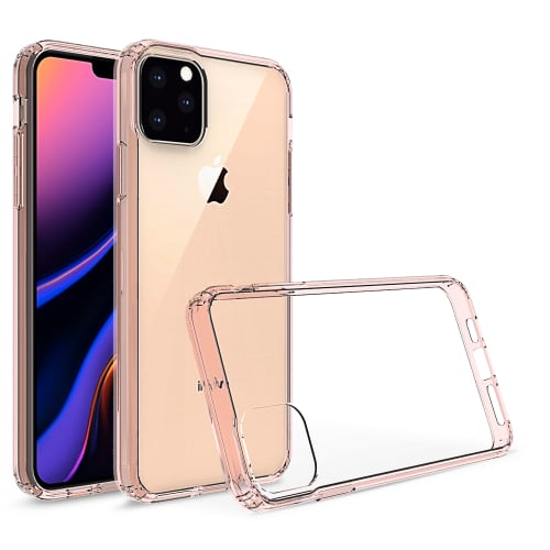 Backcover für Apple iPhone 11 Pro Max - Silikon, Transparent / rosa Tasche, Case, Etui, Hülle