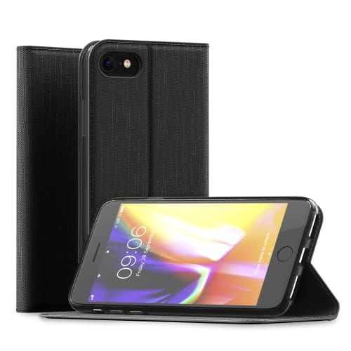Etui iPhone 8   iPhone 7 Cuir PU noir Housse Flip Case Cover Coque Rabat  Etui de protection Portefeuille Housse f552bef5c99