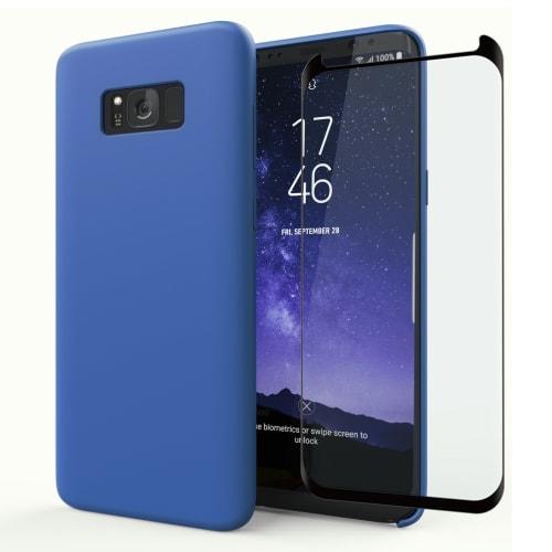 Handyhülle + Panzerglas für Samsung Galaxy S8 Plus (SM-G955 / SM-G955F) - Silikon, dunkelblau Tasche, Case, Etui, Hülle