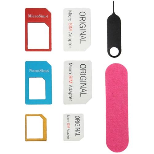5 in 1 Kit de rangement adaptateur carte SIM Micro SIM Nano SIM Standard SIM