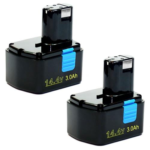 2x Batería 14.4V, 3Ah, NiMH para Hitachi DS 14DV / DS 14DMR / DS 14DVA - EB1414S, EB1414, EB14B, EB1433X, EB1430H batería de Reemplazo