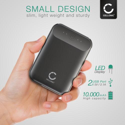 CELLONIC® USB Power Bank med 10000mAh och 2 USB Ports, 5V 2A bärbar Batteri, mobil USB Laddare, USB batteripack
