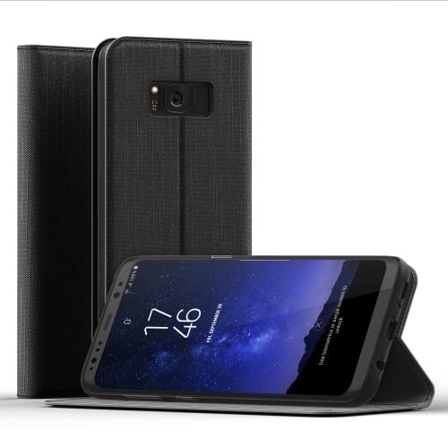 Handytasche Samsung Galaxy S8 (SM-G950 / SM-G950F) PU Leder schwarz Hülle Flip Case Tasche Klapphülle Book Case Etui Wallet mit Kartenfach
