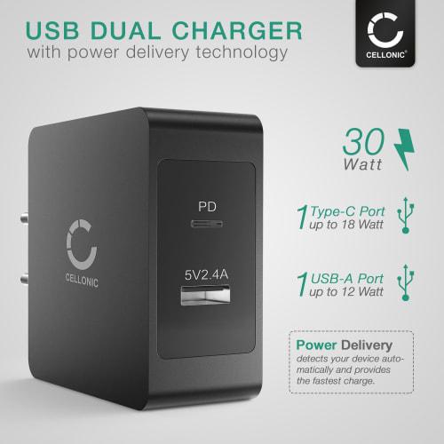 CELLONIC® USB Powerbank med 10000mAh og 2 USB Ports, 5V 2A +