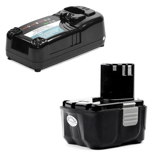 Battery 14.4V, 3Ah, Li-Ion + Charger for Hitachi DS 14DFL / DS 14DL / DV 14DL / DH 14DL / WH 14DL / WR 14DL / G 14DL - BCL1415, BCL1430 replacement battery