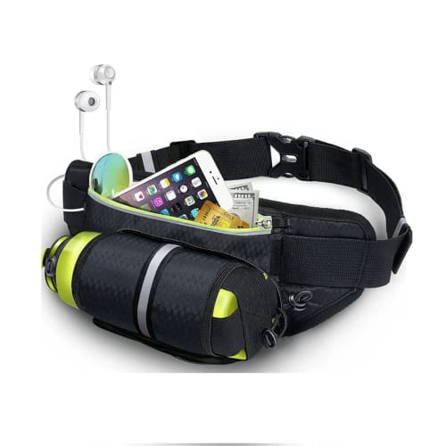 Sports Bum Bag for Men and Women, Holds a Water Bottle & Mobile Phone, Black, Nylon | Hip Pack