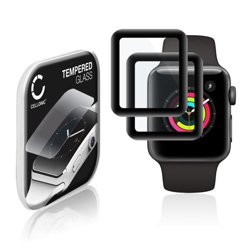 2x Protection d'écran en verre Apple Watch 1 / 2 / 3 - 38mm (2.5D, 9H, 0,33mm, Full Glue) Verre trempé