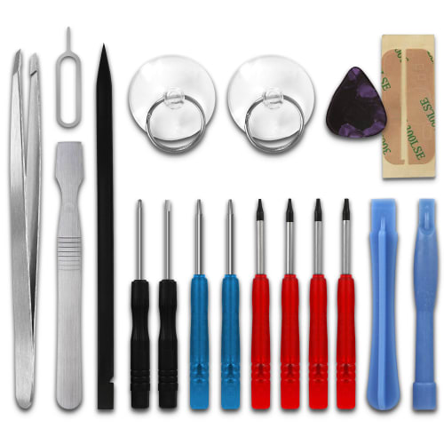 18-delars kit för att reparera mobiler med 2 x Pentalobe-skruvmejslar, 4 x TORX®-skruvmejslar, pincetter & mer | verktyg för att reparera mobil
