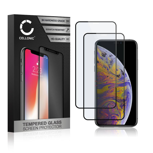 2x Displaybeschermglas iPhone XS Max (3D Case-friendly, 9H, 0,33mm, Full Glue) Tempered Glass