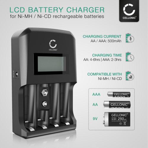 CELLONIC Batterilader til 9V, AA og AAA Batterier (NiMH) med