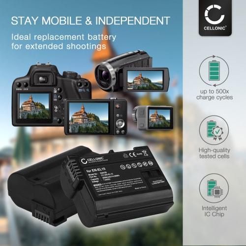 2x Batterie pour EN EL15 2000mAh incl. Chargeur MH 25 (Nikon