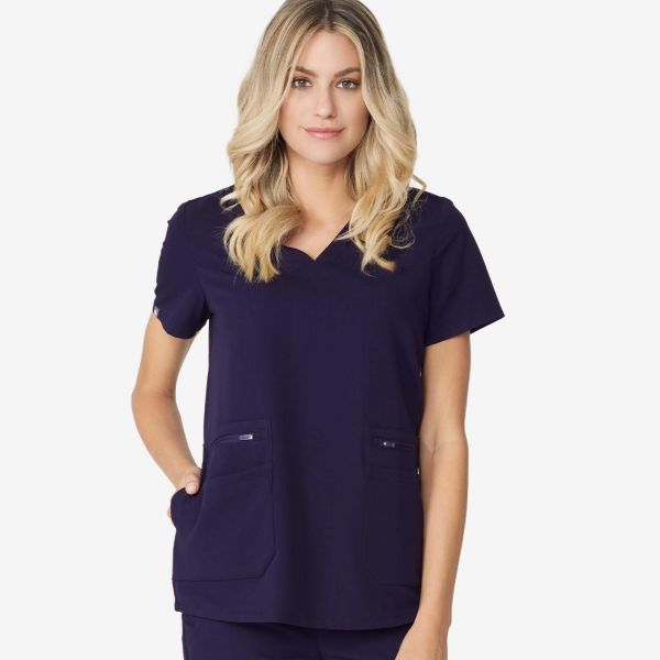 43757fb608 women s Navy Accra - Six-Pocket Scrub Top