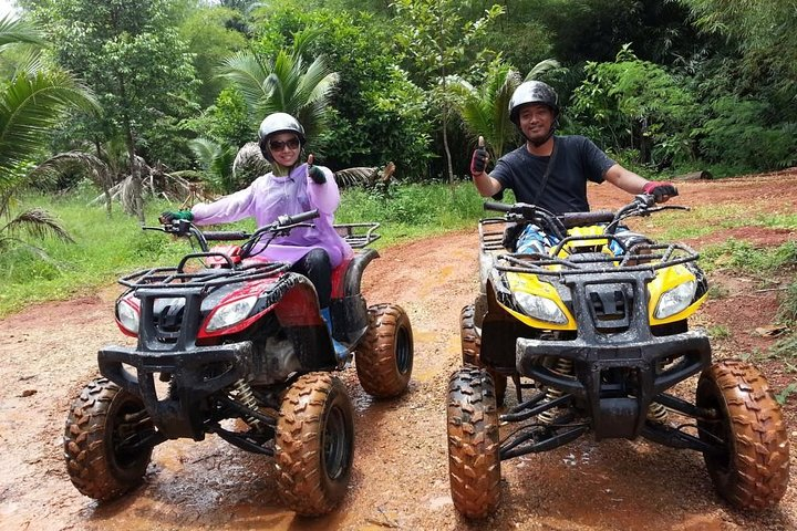 Ride side by side with a friend on a ATV