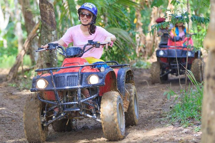 Off road through jungle trails, over hills and past rubber plantations
