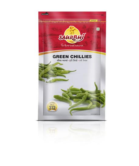 SAURBHI GREEN CHILLIES HOT 312GM