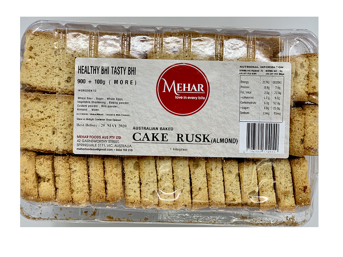 MEHAR CAKE RUSK ALMOND (900 GRAM)