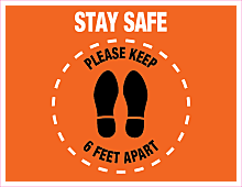 COVID-19 Social Distancing Floor Decal Stickers Graphics - StaySafe