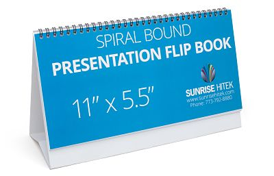 Custom printed spiral bound presentation flip book with built in easel