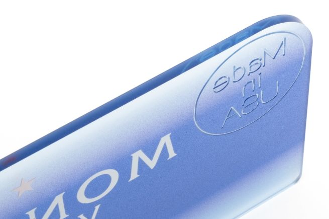 Acrylic shelf talker with engraving