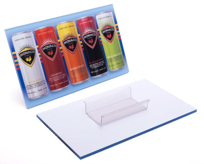 Acrylic shelf talker optional colored acrylic