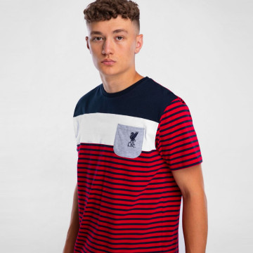 Striped Pocket Tee - Navy/Red
