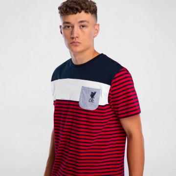 T-shirt Striped Pocket - Blå/Röd