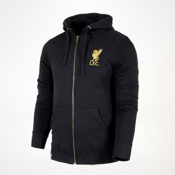Liverbird Zip Hood - Black/Gold