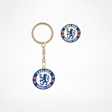 Crest Keyring and Pin Badge Set