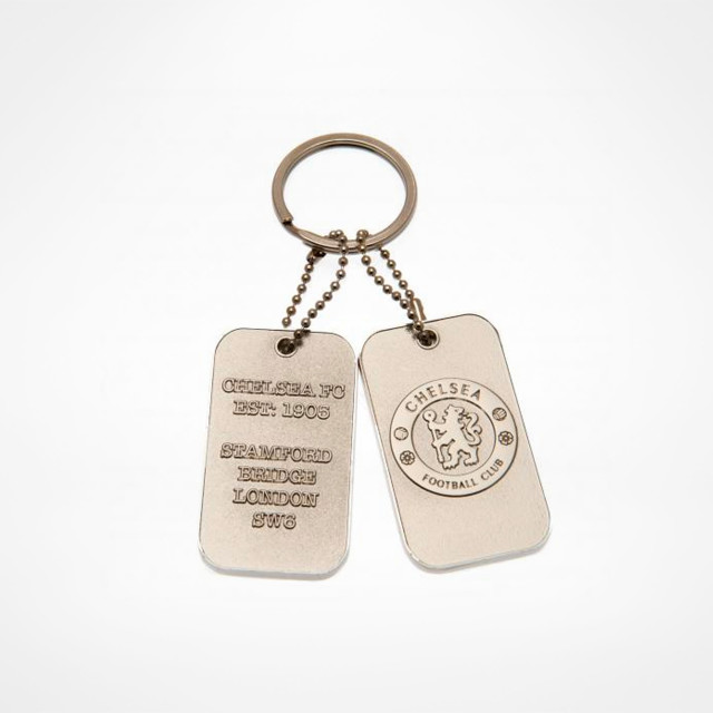 Chelsea F.C OFFICIAL SILVER DOG TAGS KEYRING