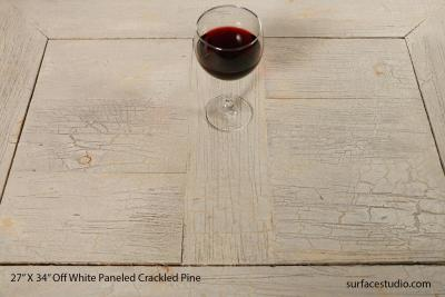 Off-White Paneled Crackled Pine