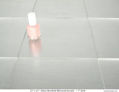 """Silver Brushed Mirrored Acrylic 7"""" Grid"""