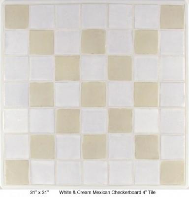 "White & Cream Mexican  Checkerboard 4"" Tile (35 lbs)"
