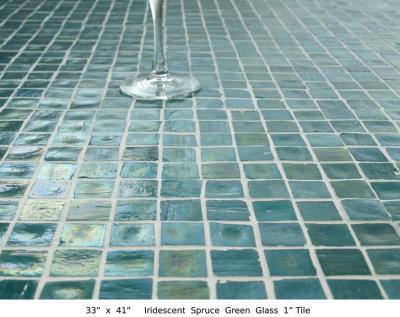 "Iridescent Spruce Green Glass 1"" Tile (45 lbs)"