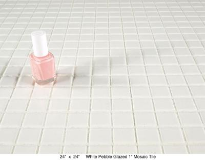 "White Pebbled Glazed  1"" Tile (20 lbs)"