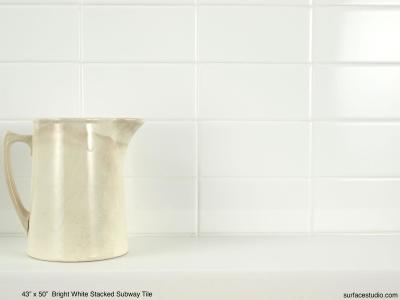 Bright White Stacked Subway Tile (70 lbs)