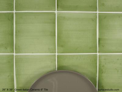"Green Italian Ceramic 6"" Tile (40 lbs)"