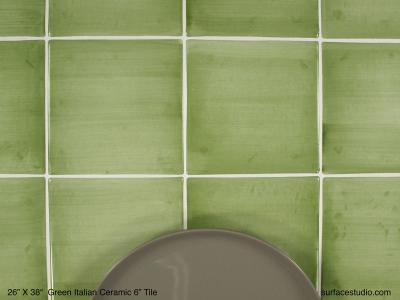 """Green Italian Ceramic 6"""" Tile (40 lbs)"""