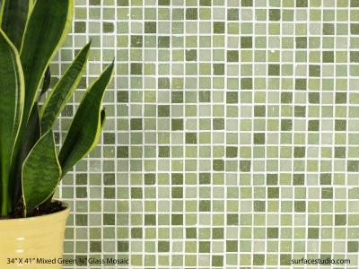 "Mixed Green ¾"" Glass Mosaic Tile (35 lbs)"