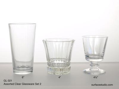 GL 021 Assorted Clear Glasses Set Two $5 per item