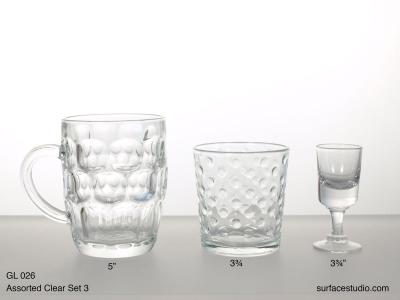 GL 026 Assorted Clear Set Three $5 per item