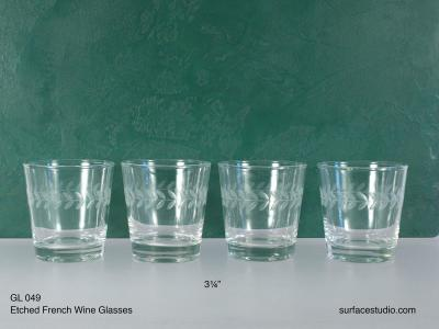 GL 049 Etched French Wine Glasses $5 per item