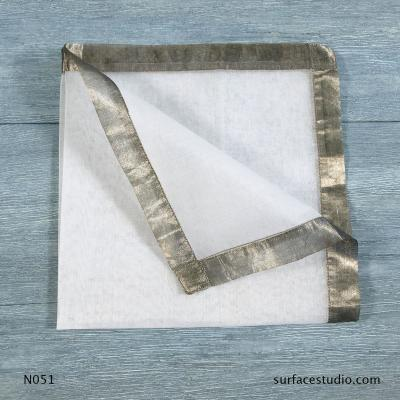 N 051 White Solid with Border Napkin
