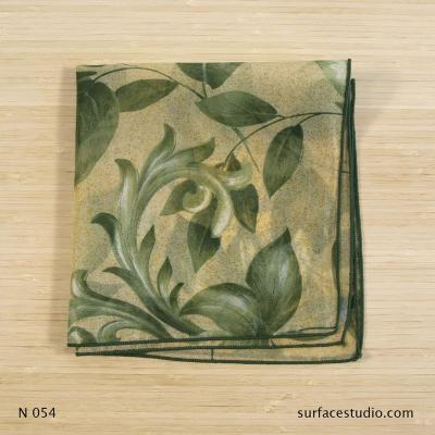 N 054 Green Beige Floral Patterned Napkin