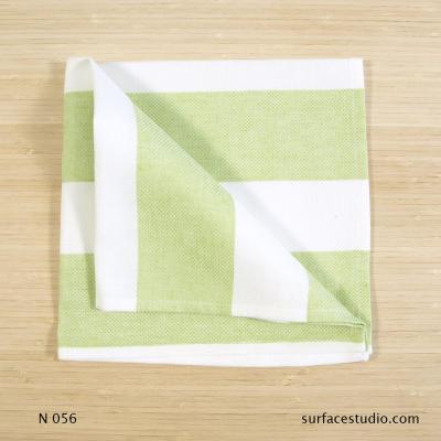 N 056 Green White Striped Napkin