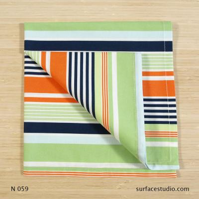 N 059 Green Blue Orange Multi Striped Napkin