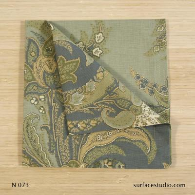 N 073 Green Blue Gold Multi Floral Patterned Napkin
